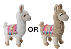 white and brown alpaca plush toys