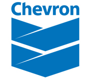 Chevron logo in blue and white.