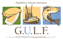 Audubon Nature Institute GULF logo, Gulf United for Lasting Fisheries, featuring 3 image blocks make up the logo design, oyster, shrimp boat and a fish.