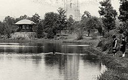 Historical black and white photo of the lagoon at Audubon Park.