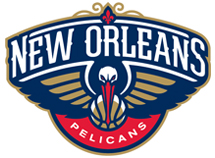 New Orleans Pelicans logo in blue, red, white and gold.