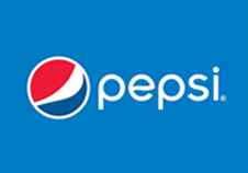 Pepsi logo on a blue background.
