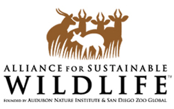 Logo for Alliance for Sustainable Wildlife, founded by Audubon Nature Institute and San Diego Zoo Global.