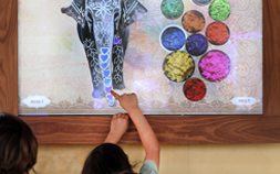 A child points to an interactive elephant exhibit at the Audubon Zoo in New Orleans.