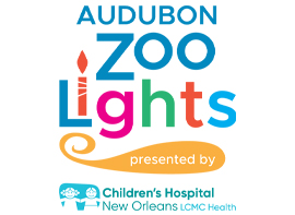 Audubon Zoo Lights presented by Children's Hospital New Orleans Logo.