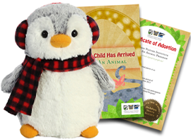 An Audubon Nature Institute Adopt An Animal package with gift certificate and plush.