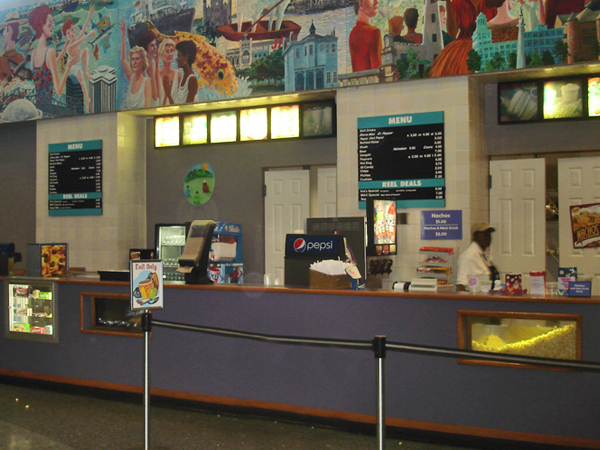 View of the Concessions outside the Entergy Giant Screen Theater at Audubon Aquarium of the Americas.