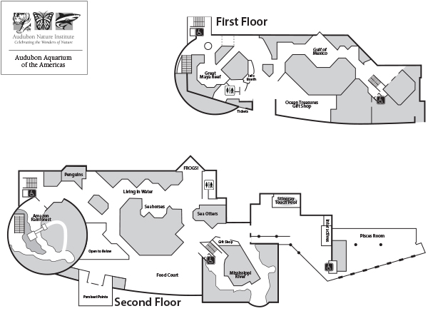 Audubon Aquarium of the Americas floorplan.