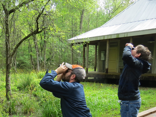 A man and little boy look at birds through binoculars while exploring the Wilderness Park at Audubon Louisiana Nature Center.