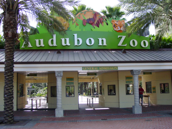 The front gates of the Audubon Zoo in New Orleans.