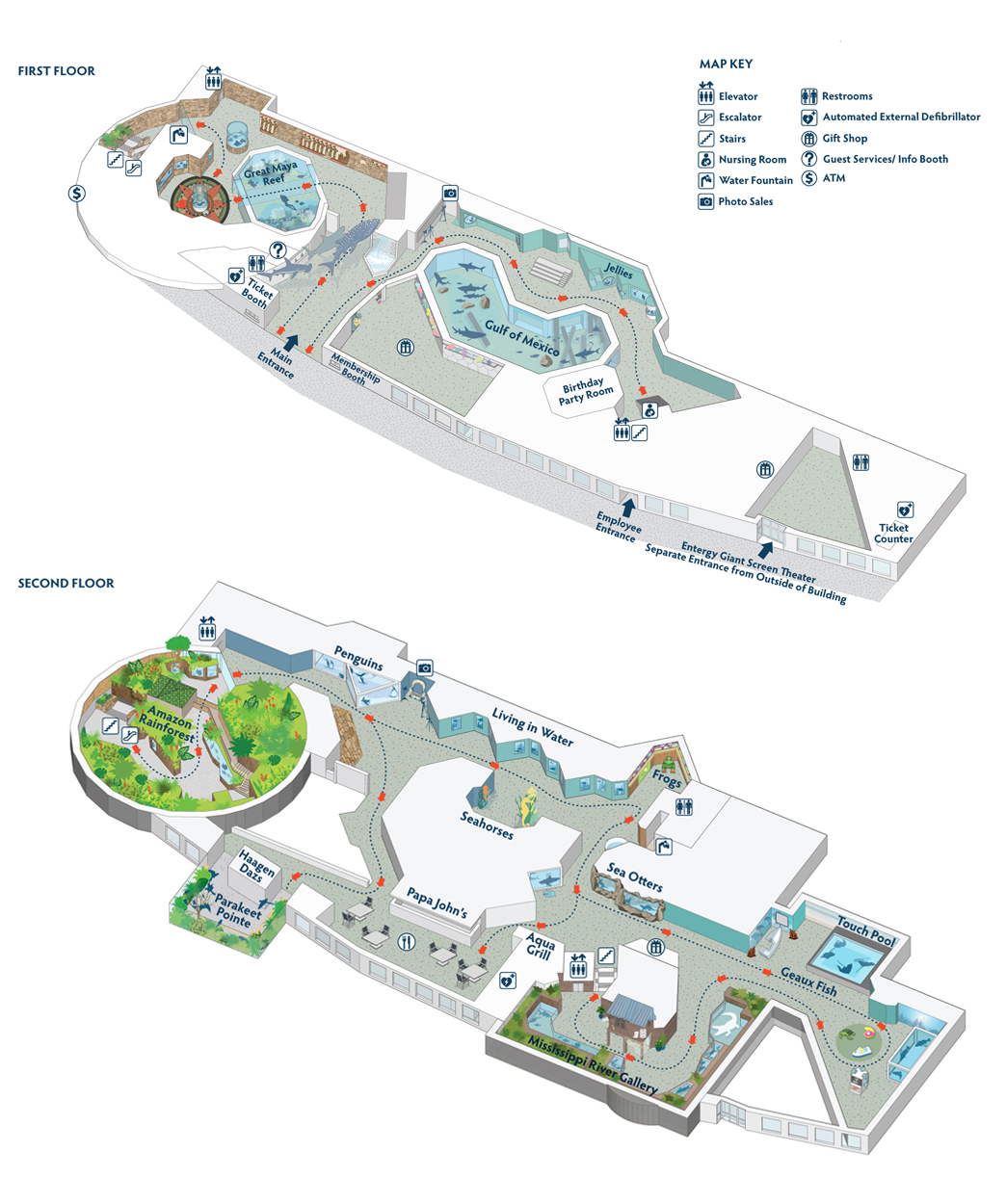 Audubon Aquarium Of the Americas Floor Map Image - Audubon Nature Institute