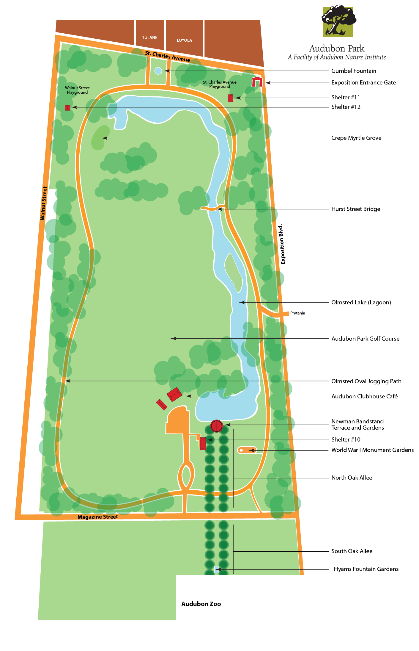 Audubon Park Map - New Orleans - Audubon Nature Institute