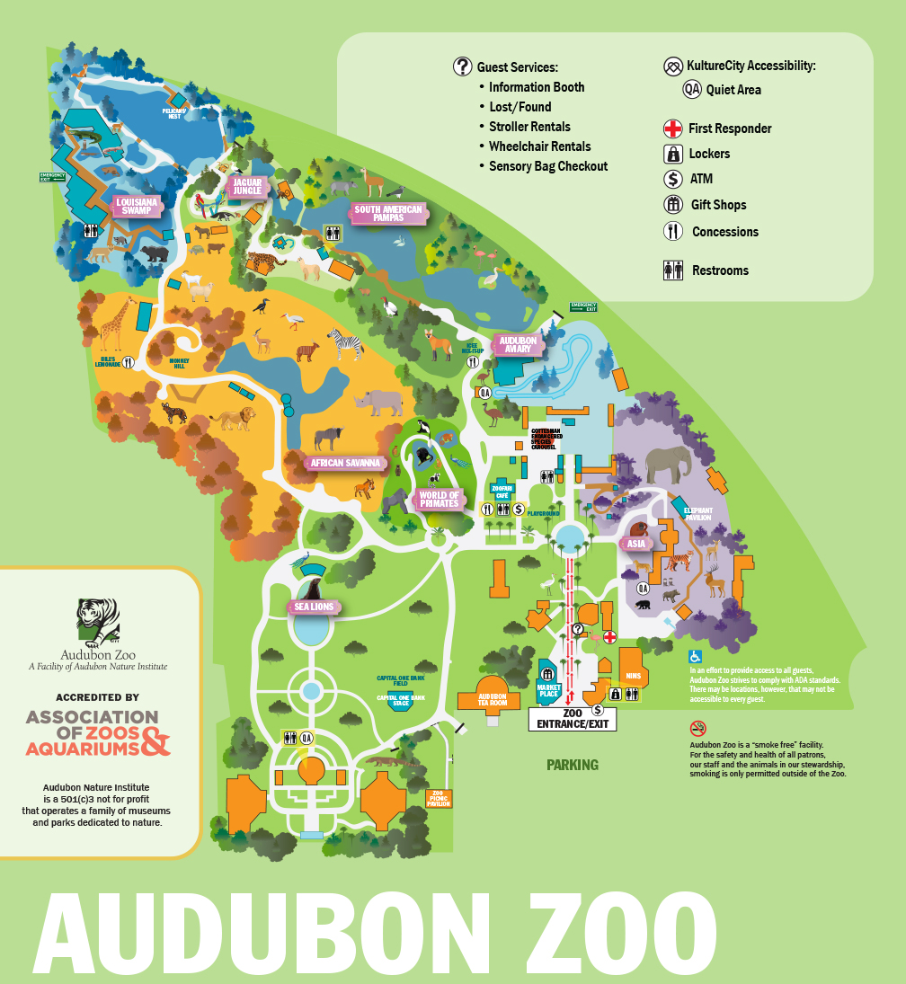 Illustrated Image Of Map Of Audubon Zoo - Audubon Nature Institute